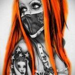 тату эскизы девушка цветная 16.09.2019 №003 - tattoo sketches girl color - tatufoto.com