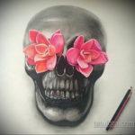 цветные тату эскизы черепа 16.09.2019 №001 - colored skull sketches - tatufoto.com