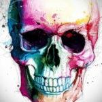 цветные тату эскизы черепа 16.09.2019 №012 - colored skull sketches - tatufoto.com
