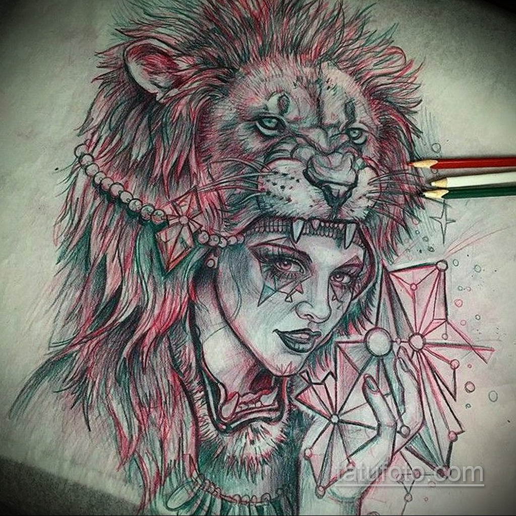 эскизы женских тату льва 14.09.2019 №017 - sketches of female lion tattoos - tatufoto.com