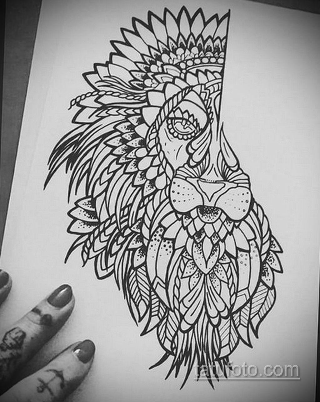 эскизы женских тату льва 14.09.2019 №033 - sketches of female lion tattoos - tatufoto.com