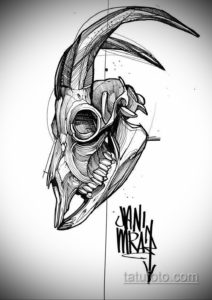 эскизы тату черепа животных 17.09.2019 №004 - animal skull tattoo designs - tatufoto.com