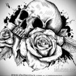 эскизы тату черепа черно белые 17.09.2019 №031 - Skull tattoo sketches bla - tatufoto.com