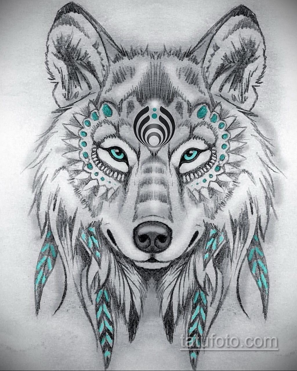 фото тату эскизы волка его пейзажах