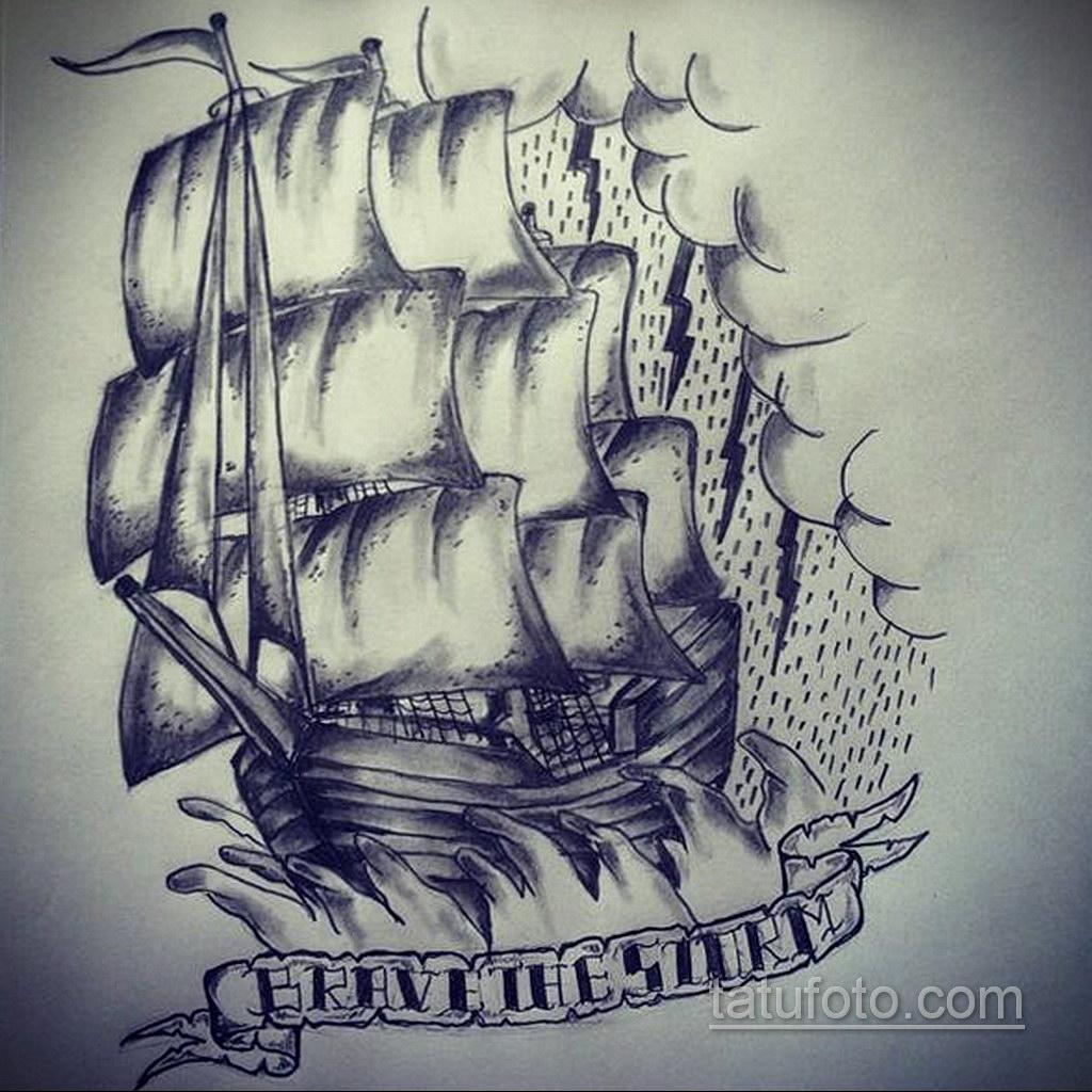 эскиз для корабль в шторм тату 27.09.2019 №004 -sketch frigate tattoo- tatufoto.com