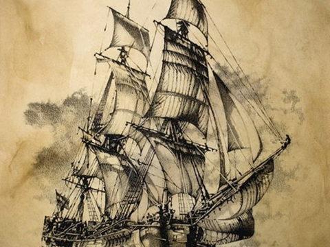 эскиз для корабль призрак тату 27.09.2019 №007 -sketch frigate tattoo- tatufoto.com