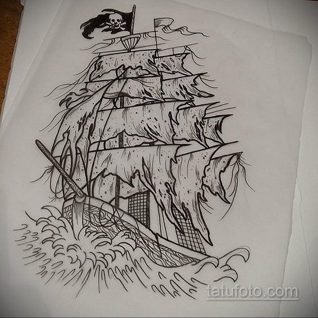 эскиз для корабль призрак тату 27.09.2019 №010 -sketch frigate tattoo- tatufoto.com