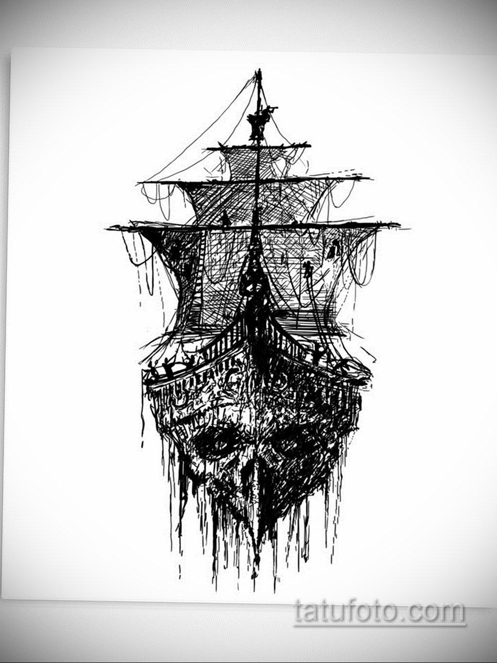 эскиз для корабль призрак тату 27.09.2019 №011 -sketch frigate tattoo- tatufoto.com