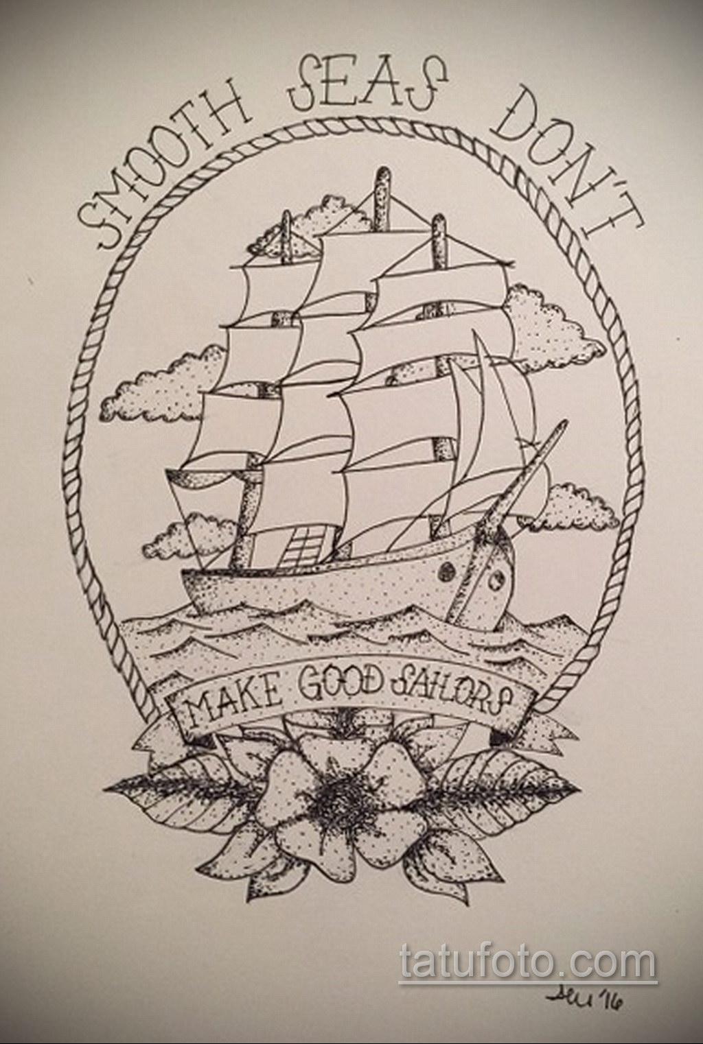 эскиз для корабль призрак тату 27.09.2019 №014 -sketch frigate tattoo- tatufoto.com