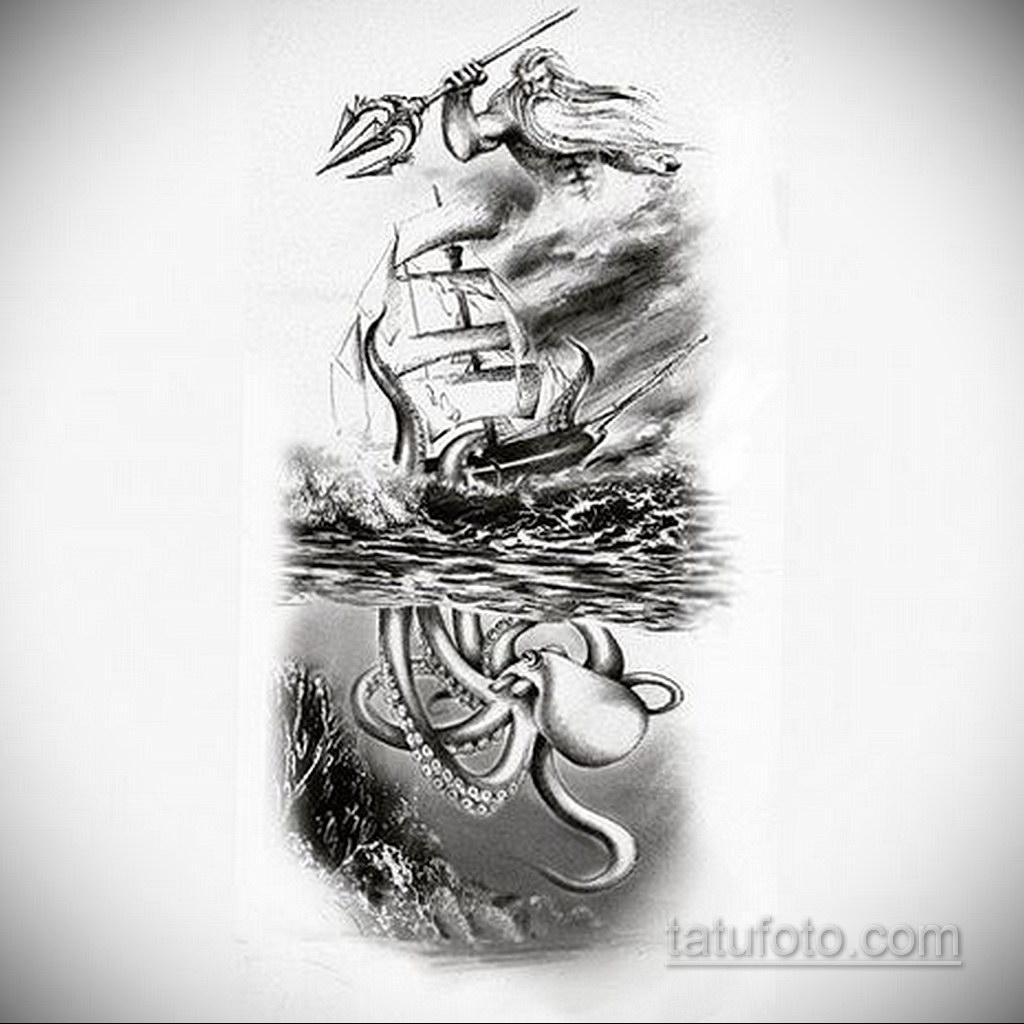 эскиз для кракен корабль тату 27.09.2019 №003 -sketch frigate tattoo- tatufoto.com