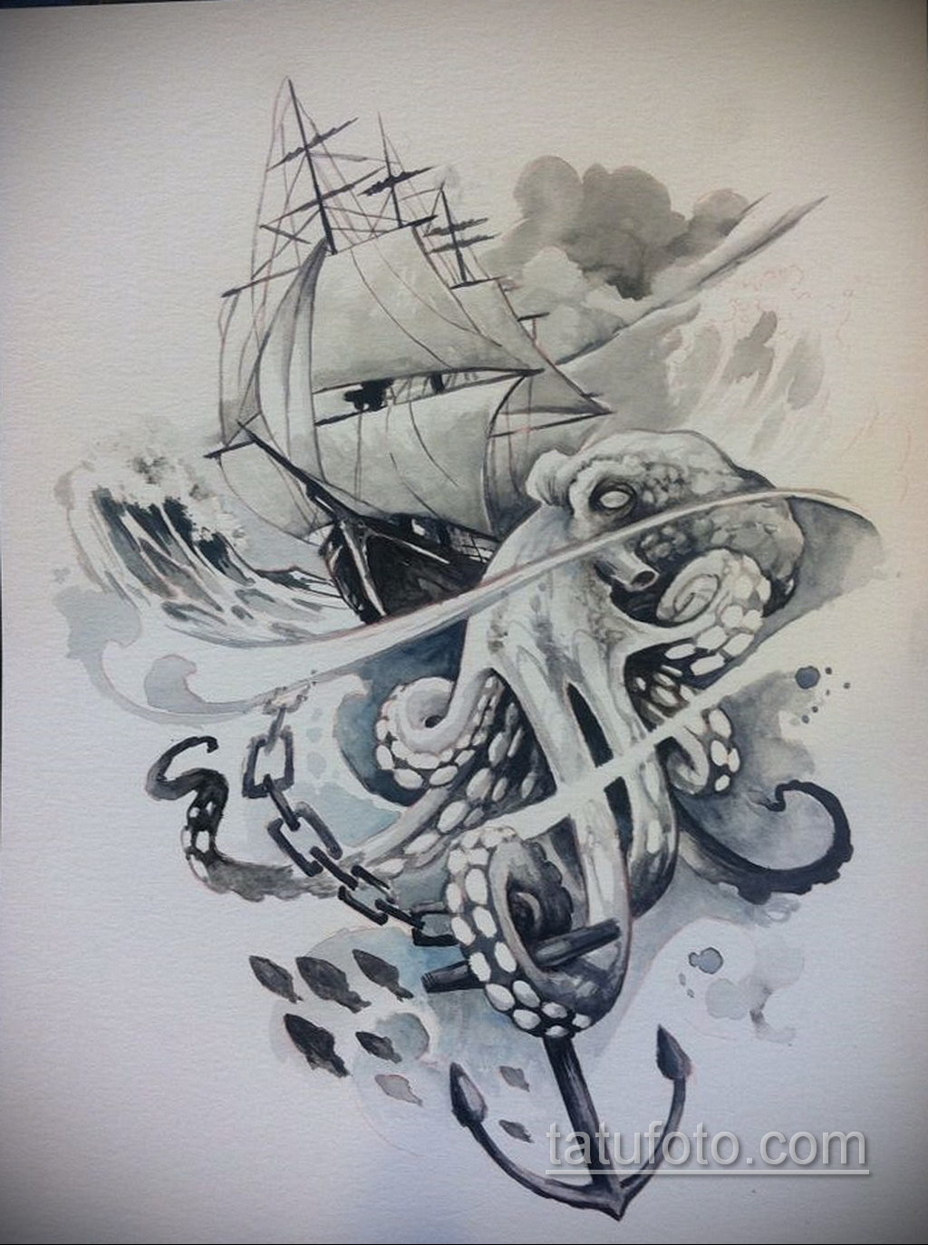 эскиз для кракен корабль тату 27.09.2019 №004 -sketch frigate tattoo- tatufoto.com