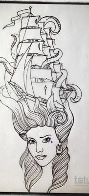 эскиз для кракен корабль тату 27.09.2019 №040 -sketch frigate tattoo- tatufoto.com