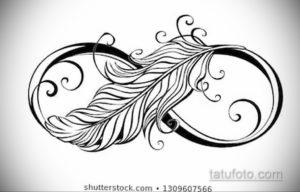 эскиз для тату бесконечность с пером 26.09.2019 №007 -sketch feather tattoo- tatufoto.com
