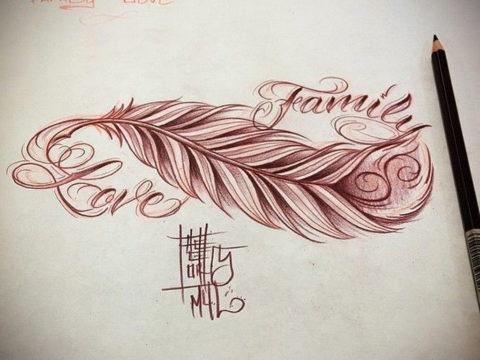 эскиз для тату бесконечность с пером 26.09.2019 №013 -sketch feather tattoo- tatufoto.com