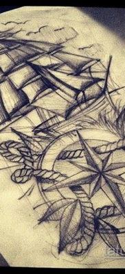 эскиз для тату корабль компас 27.09.2019 №002 -sketch frigate tattoo- tatufoto.com