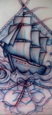 эскиз для тату корабль олд скул 27.09.2019 №005 -sketch frigate tattoo- tatufoto.com