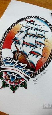 эскиз для тату корабль олд скул 27.09.2019 №011 -sketch frigate tattoo- tatufoto.com
