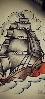 эскиз для тату корабль олд скул 27.09.2019 №012 -sketch frigate tattoo- tatufoto.com