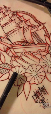 эскиз для тату корабль олд скул 27.09.2019 №013 -sketch frigate tattoo- tatufoto.com