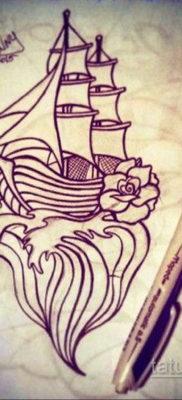 эскиз для тату корабль олд скул 27.09.2019 №015 -sketch frigate tattoo- tatufoto.com
