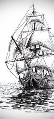 эскиз для тату корабль с парусами 27.09.2019 №004 -sketch frigate tattoo- tatufoto.com