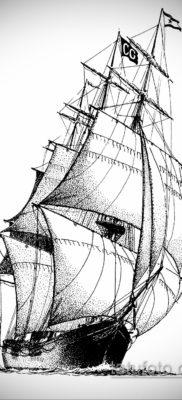 эскиз для тату корабль с парусами 27.09.2019 №006 -sketch frigate tattoo- tatufoto.com