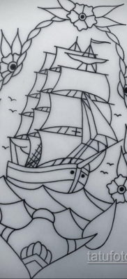 эскиз для тату корабль с парусами 27.09.2019 №009 -sketch frigate tattoo- tatufoto.com