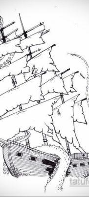 эскиз для тату корабль с парусами 27.09.2019 №011 -sketch frigate tattoo- tatufoto.com
