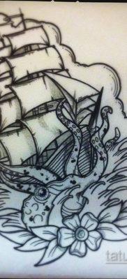 эскиз для тату корабль с парусами 27.09.2019 №014 -sketch frigate tattoo- tatufoto.com