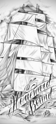 эскиз для тату корабль с парусами 27.09.2019 №015 -sketch frigate tattoo- tatufoto.com