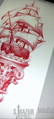 эскиз для тату корабль с парусами 27.09.2019 №016 -sketch frigate tattoo- tatufoto.com