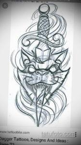 эскиз для тату кот с ножом 23.09.2019 №001 - sketch for cat tattoo with knife - tatufoto.com