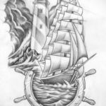 эскиз для тату маяк корабль 24.09.2019 №001 -the back of the head tattoo- tattoo-photo.ru