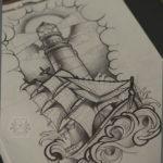 эскиз для тату маяк корабль 24.09.2019 №002 -the back of the head tattoo- tattoo-photo.ru