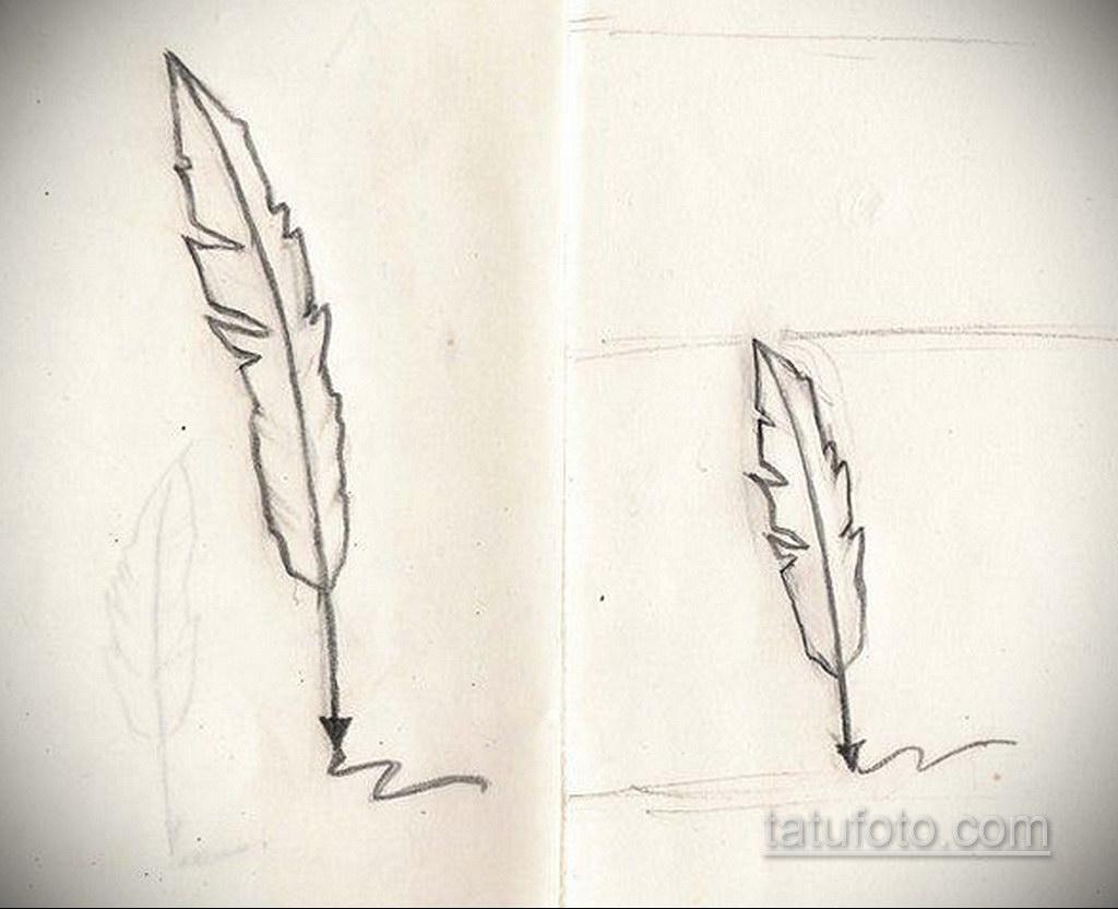 эскиз для тату надпись с пером 26.09.2019 №003 -sketch feather tattoo- tatufoto.com