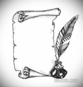 эскиз для тату надпись с пером 26.09.2019 №004 -sketch feather tattoo- tatufoto.com