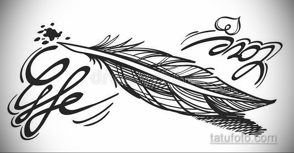 эскиз для тату надпись с пером 26.09.2019 №006 -sketch feather tattoo- tatufoto.com