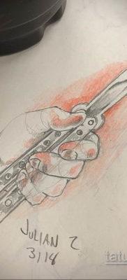 эскиз для тату нож бабочка 23.09.2019 №009 – sketch for butterfly knife tattoo – tatufoto.com