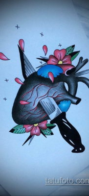 эскиз для тату нож в сердце 23.09.2019 №010 – sketch for tattoo knife in the h – tatufoto.com