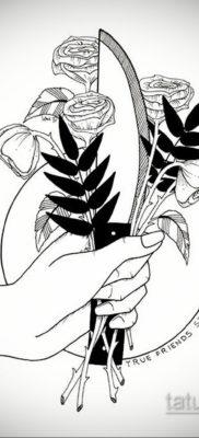 эскиз для тату нож в спине 23.09.2019 №005 – sketch for tattoo knife in the ba – tatufoto.com