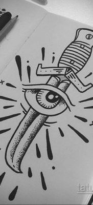 эскиз для тату нож глаза 23.09.2019 №008 – sketch for tattoo knife eyes – tatufoto.com