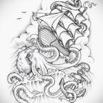 эскиз для тату осьминог корабль 27.09.2019 №001 -sketch frigate tattoo- tatufoto.com