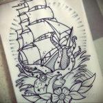 эскиз для тату осьминог корабль 27.09.2019 №005 -sketch frigate tattoo- tatufoto.com