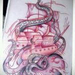 эскиз для тату осьминог корабль 27.09.2019 №011 -sketch frigate tattoo- tatufoto.com
