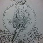 эскиз для тату осьминог корабль 27.09.2019 №013 -sketch frigate tattoo- tatufoto.com