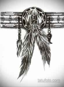 эскиз для тату перо индейца 26.09.2019 №007 -sketch feather tattoo- tatufoto.com