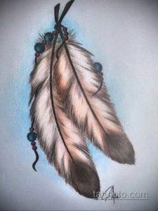 эскиз для тату перо индейца 26.09.2019 №013 -sketch feather tattoo- tatufoto.com