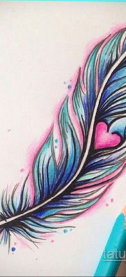 эскиз для тату перо на ноге 26.09.2019 №009 -sketch feather tattoo- tatufoto.com