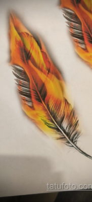 эскиз для тату перо феникса 26.09.2019 №001 -sketch feather tattoo- tatufoto.com