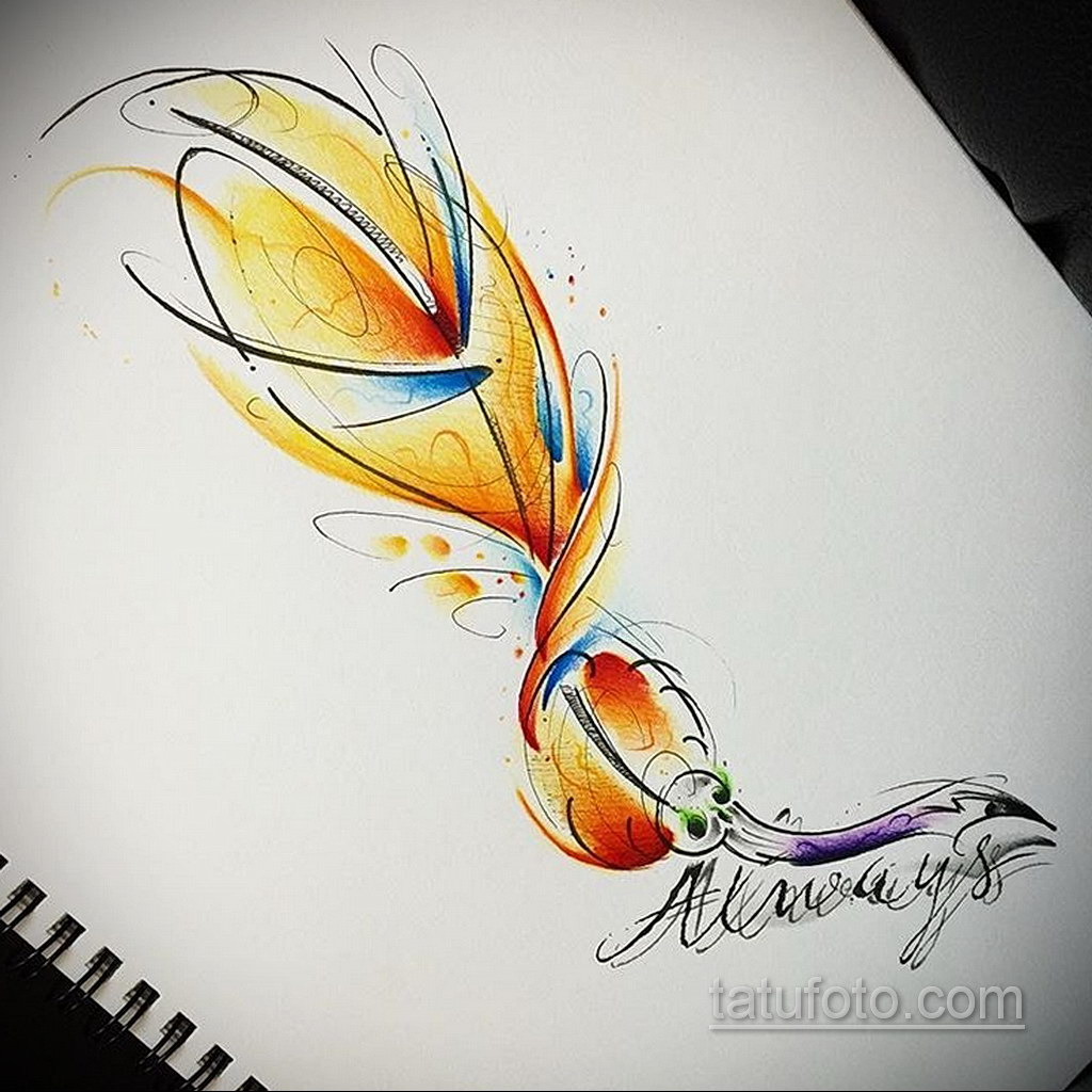эскиз для тату перо феникса 26.09.2019 №007 -sketch feather tattoo- tatufoto.com
